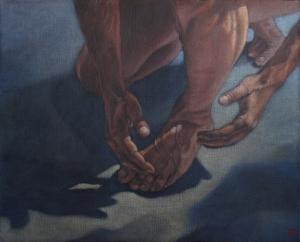 """""""la part de l'ombre II"""", 2009 100 x 81 cm acrylique sur toile"""
