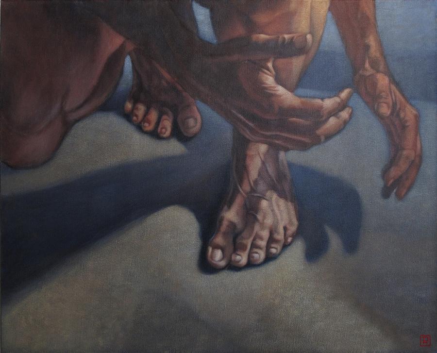 """""""la part de l'ombre III"""", 2009 100 x 81 cm acrylique sur toile"""