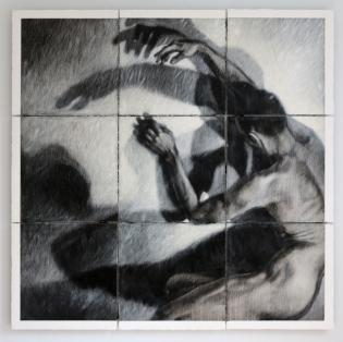 Ipseidad 47, polyptique, 2015, 153 x 153 cm, mixte sur papier chiffon