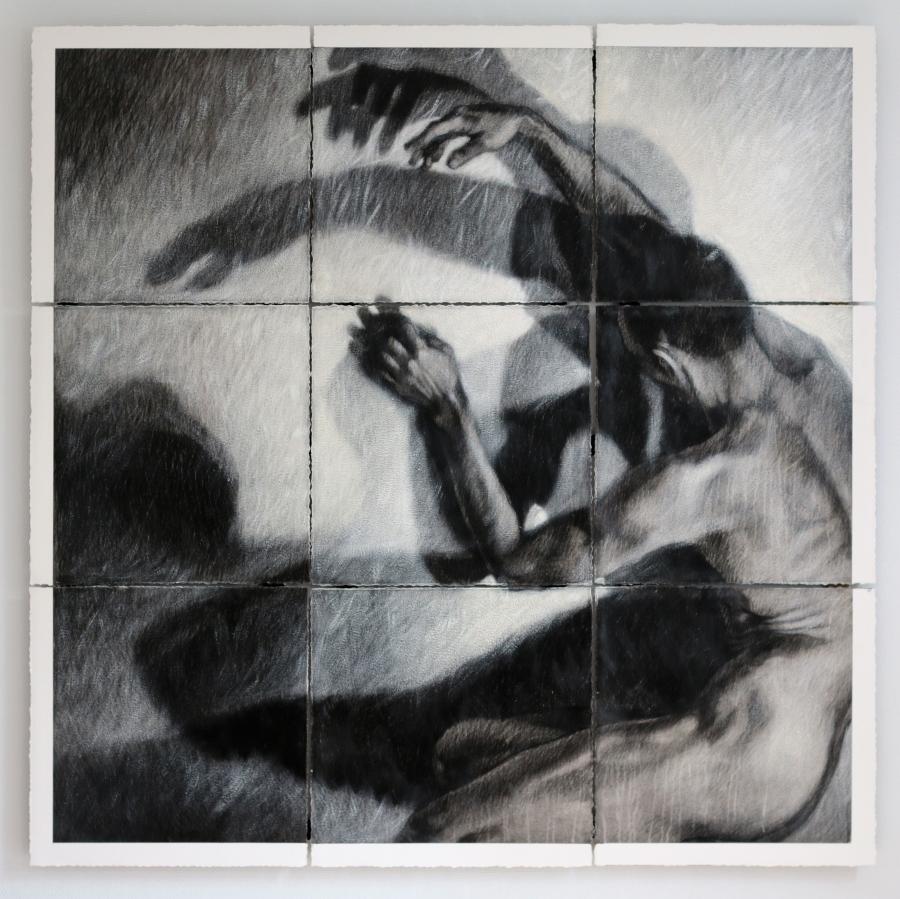 Ipseidad, polyptique, 2015, 150 x 150 cm, mixte sur papier chiffon